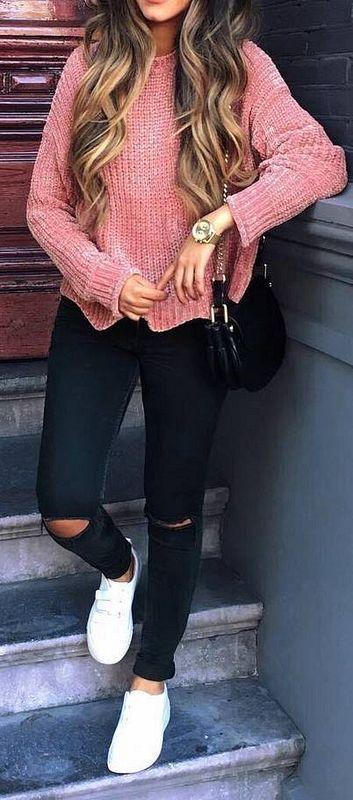 Salmon pink sweater + ripped skinnies