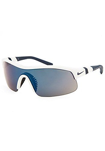 Nike Show X1 EV0674 Sunglass 120 White/Obsidian Frame Grey Lenses Size 69-18-135. Sport Wrap Designed Frame,Adjustable Rubber Temple Arms. Nike Max Optics,Grey with Blue Flash,Includes an Additional Shield. 100% UV Protection,Meet ANSI Standards. Polycarbonate Lenses. Logo on Temple,Cam-action hinges.