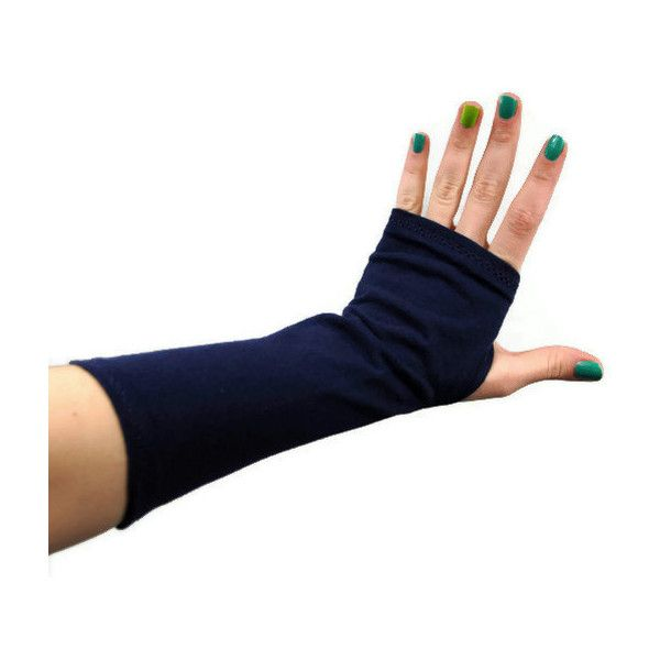 Navy Fingerless Gloves, Dark Blue Arm Warmers, Wrist Cover, Stretch... (23 CAD) ❤ liked on Polyvore featuring accessories, gloves, fingerless arm warmers, long gloves, navy jersey, tattoo gloves and fingerless gloves