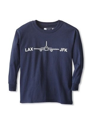 67% OFF Little Dilascia Kid's LAX-JFK Long Sleeve Tee (Navy)