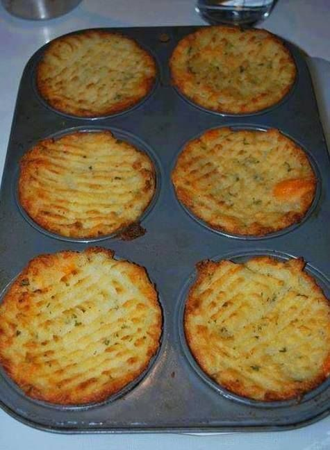 You'll Need:    Mashed potatoes.  Butter.  Cooked bacon.  Cheese.  Parsley.  Green onion.  Garlic  Or you can add any yummy ingredients you want.    How to:    Mix the mashed potatoes with butter and any additional ingredient you choose and stuff it into a greased muffin tin. Even to