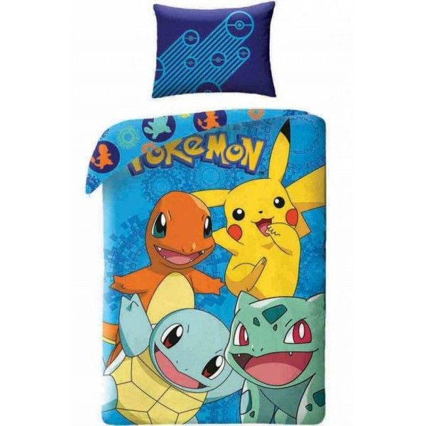 Pokemon Go sengetøj i 100% bomuld med Pikachu, Bulbasaur, Charmander og Squrtil