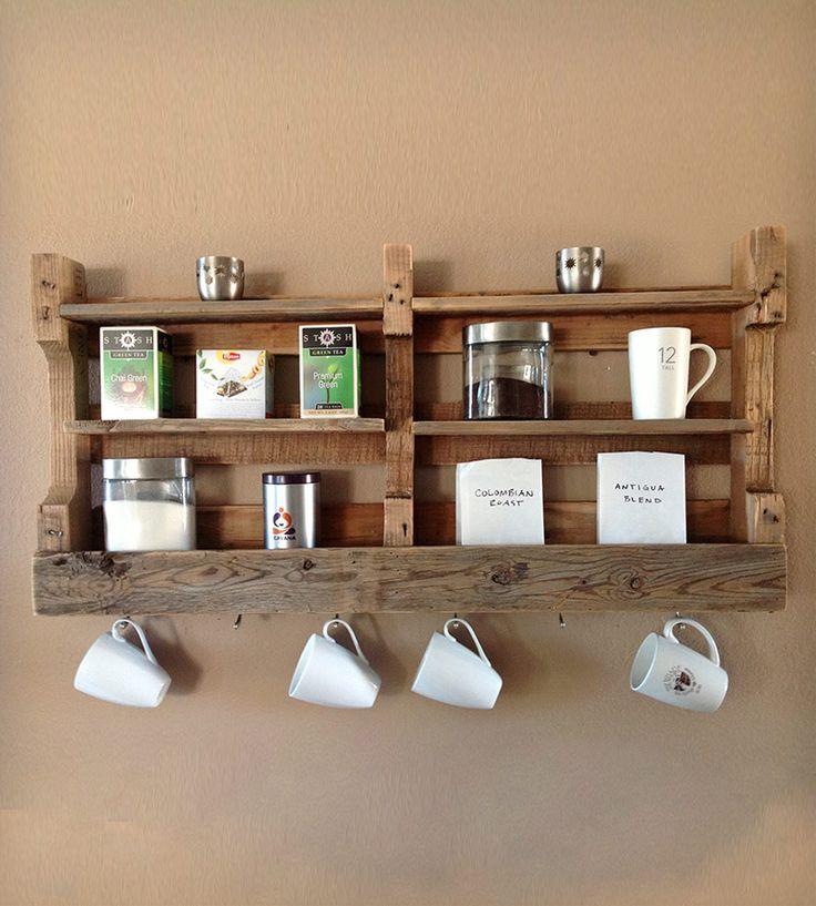 Kitchen Set Pallet: Salvaged Wood Coffee & Tea Shelf