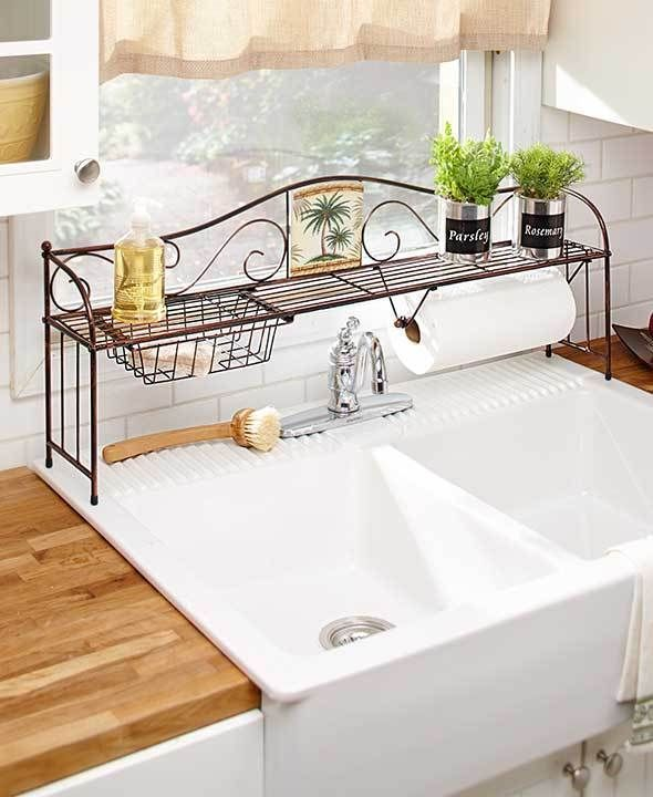 Awesome 1 Over The Sink Shelf Towel Holder Tropical Palm Tree Kitchen Counter Home  Decor
