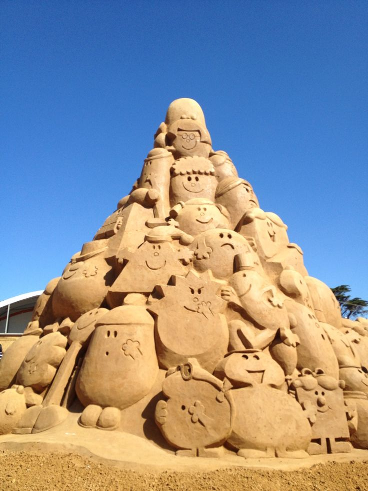 Sand sculptures by the Bay, Melbourne, Australia. The Mr Men Characters. 29.12.2013