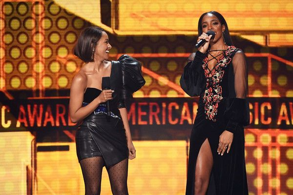Kat Graham Photos - Kat Graham (L) and Kelly Rowland speak onstage during the 2017 American Music Awards at Microsoft Theater on November 19, 2017 in Los Angeles, California. - Kat Graham Photos - 53 of 2839