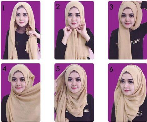 cara memakai jilbab paris segi empat simple untuk sehari hari