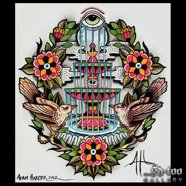 "Fountain of Life - 16x20"" Inkjet Giclee Art Print - SD-too Gallery - Adam Harper - Chapter One Tattoo Artist Print - http://shop.sd-too.com"