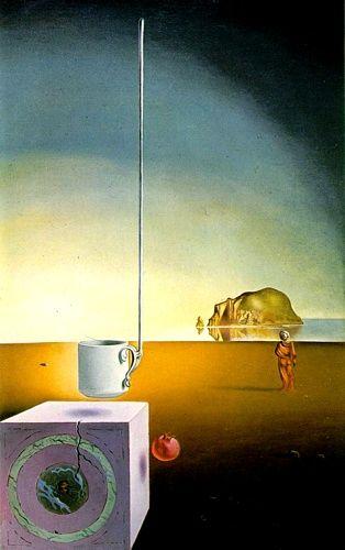 Salvador Dalí (Figueras, Espagne, 1904-1989) Demi-tasse géante volante avec annexe inexplicable de cinq mètres de longueur, 1944-1945, huile sur toile, Suisse, collection particulière