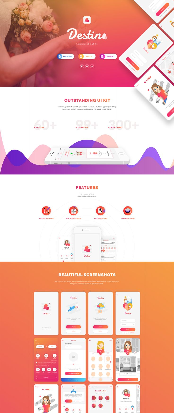 Destino is specially designed for your next Dating Mobile Application. Destino is an anonymous dating app template with 60+ iOS screens which are easy to edit with the Photoshop, Adobe XD and Sketch.