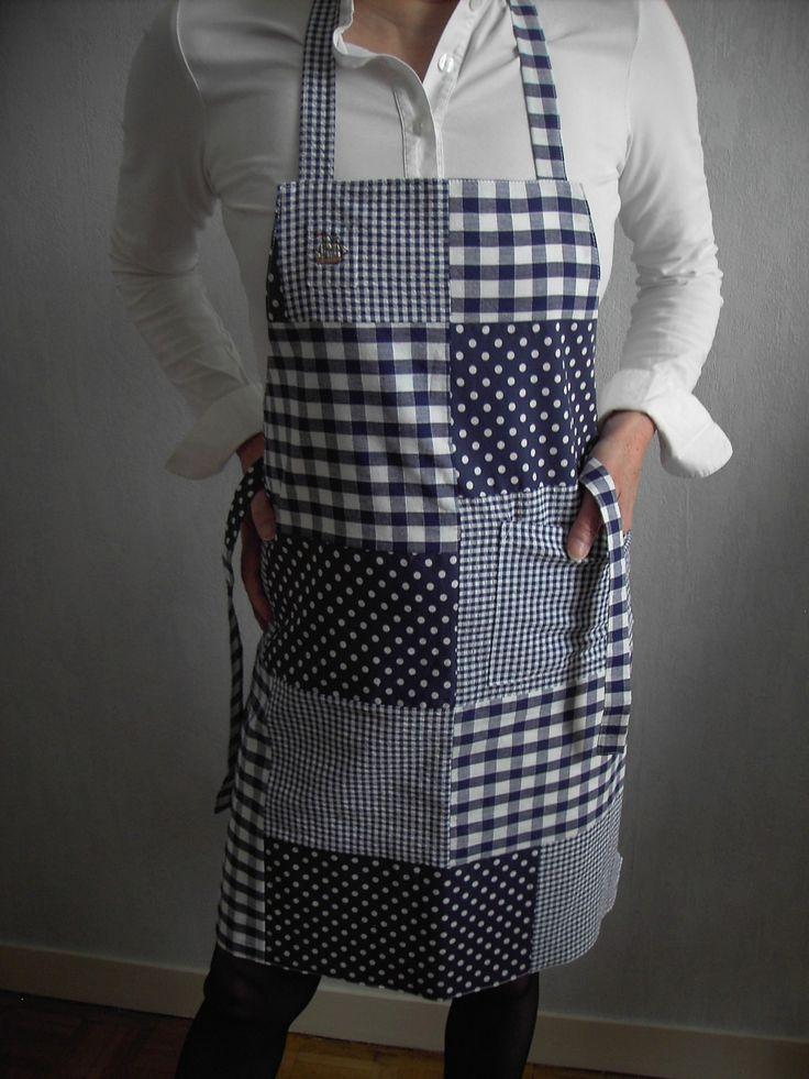 Tablier de patchwork bleu marine vichy pois tablier bleu et blanc tablier en coton - Tablier de cuisine fait main ...