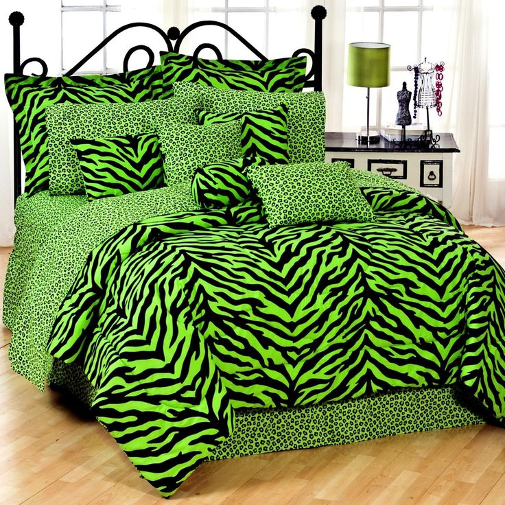 Lime green zebra bedding sets for twin to Queen size beds