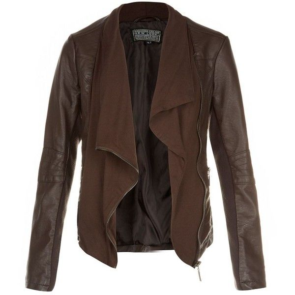 Brown Jersey Front Waterfall Leather-Look Jacket ($64) found on Polyvore