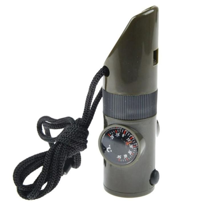 7in1 Emergency Whistles With Compass Thermometer Magnifier LED Flashlight survival tools