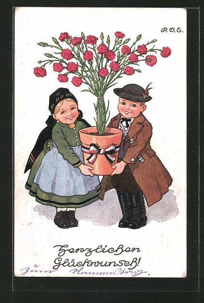 Künstler-AK P.O.Engelhard (P.O.E.): Liebespaar in Tracht trägt einen Blumentopf…