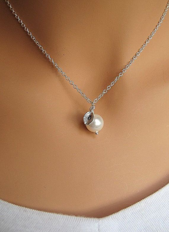 for bridesmaids? Pearl and Leaf PERSONALIZED necklace CUSTOM by RedEnvelopeGifts, $20.00
