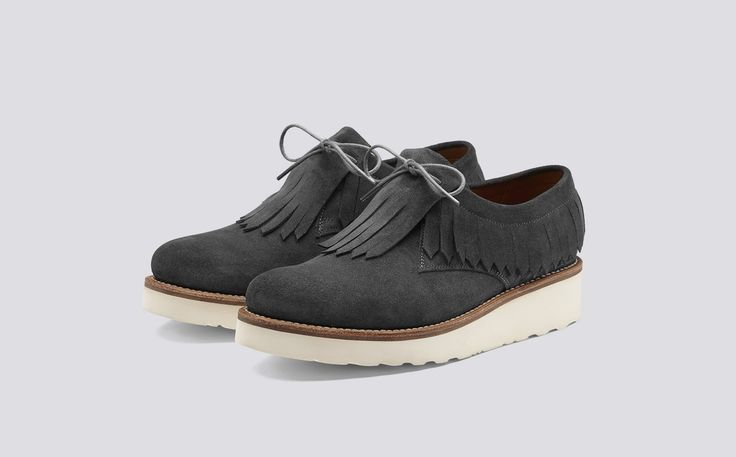 Pixie | Womens Derby in Lavagne Suede with a White Wedge Sole | Grenson Shoes - Three Quarter View