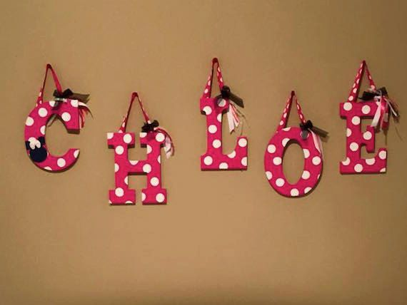 Minnie Mouse Wall Decorative Wood Letters Baby by ArtsyAutly