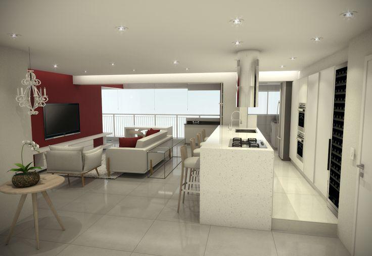 Projeto do escritório Atelier da Reforma - Apartamento Alto da Mocca- Render do projeto SketchUp + vray