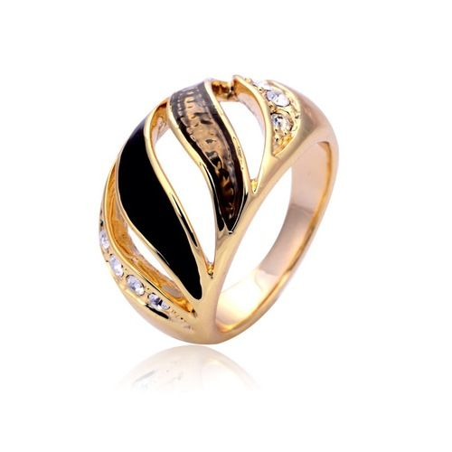 14K gold plated ring with open wave pattern and precious stones