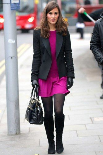 pippa middleton fashion. Fuchia and black.