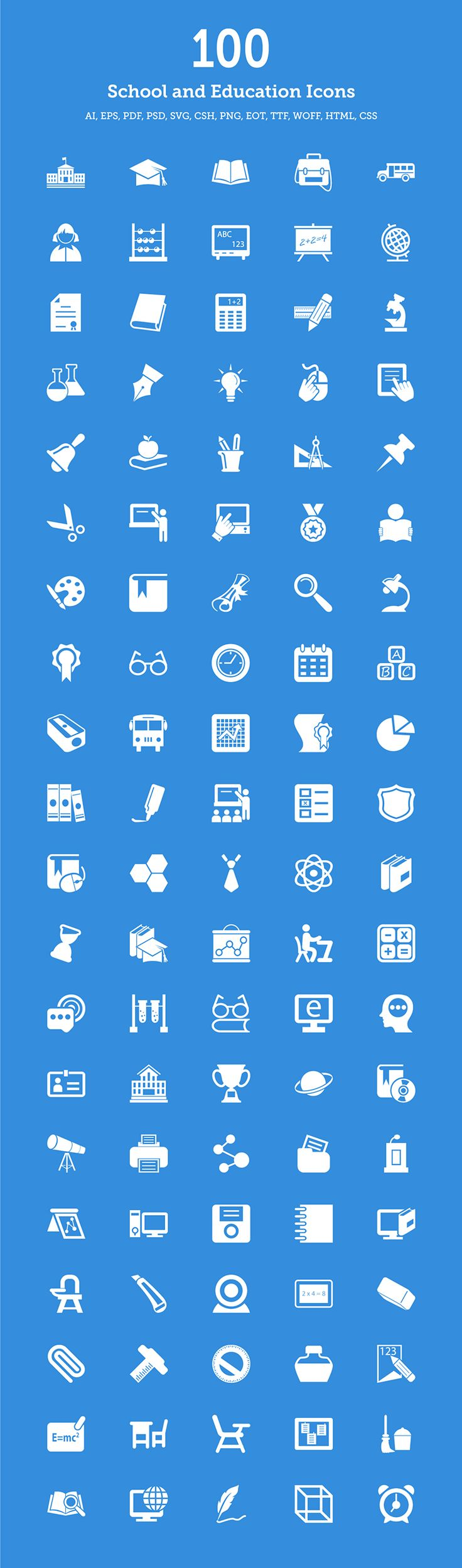 100 School & Education Icons