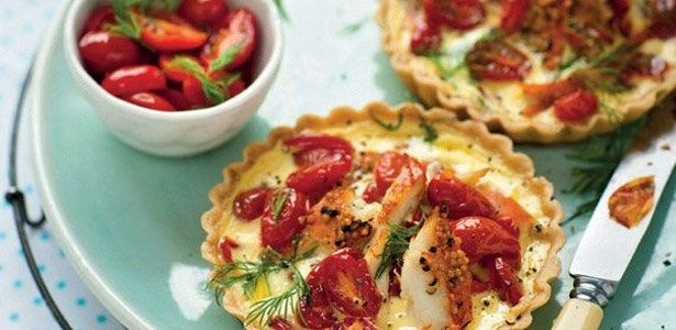Smoked angelfish and caramelised tomato tart