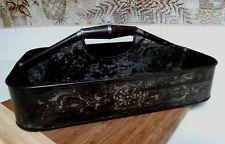 Primitive Antique Stenciled Soldered Tin Victorian Cutlery Tray