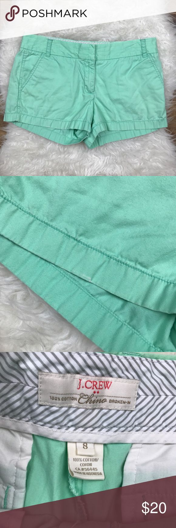 """J. Crew Broken In Chino Mint Shorts Good condition J. Crew Factory Broken In Chino Shorts. Size 8, small mark on bottom of hem seen in picture. 100% cotton. Waistband 34"""", rise 9"""", inseam 3"""". No trades, offers welcome. J. Crew Factory Shorts"""