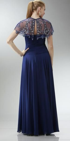 2a2b1b93c68 Stunning strapless sweetheart 75D Chiffon long navy-blue dress with ruched  bodice and center back zip closure. This gown comes with a beautiful  detachable ...