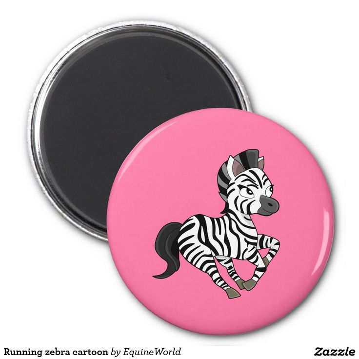 Running zebra cartoon 2 inch round magnet