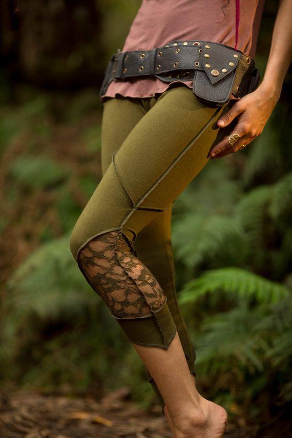 Layla Leggings (Green) - Hippie Festival Stylish Stretchy Lycra Cotton Boho Bohemian Sexy Gypsy Tights