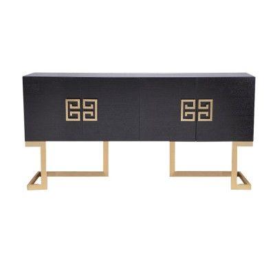 Luxurious 'Nobbu' Sideboard with metallic brass accents in wenge oak finish. #4livinguk