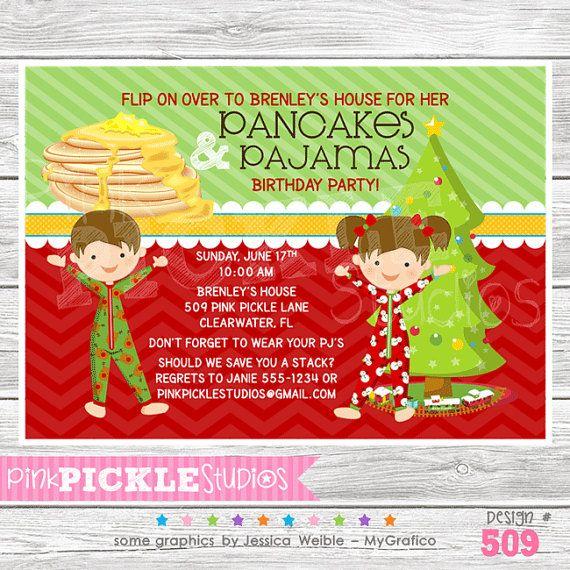 Pancakes & Christmas Pajamas Printable by PinkPickleParties, $10.00