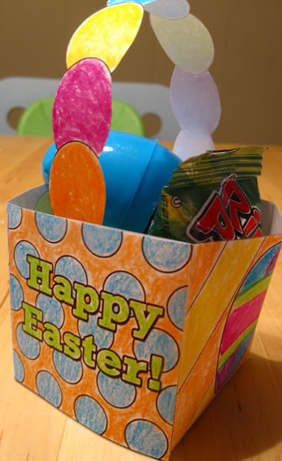 Free Download - Easter treat basket printable. Cute and easy project for your kids!