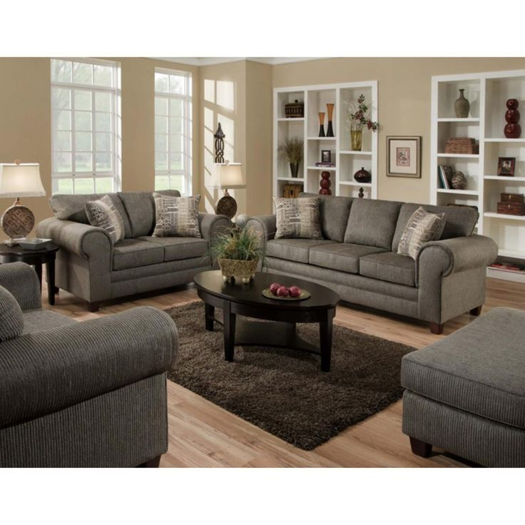 Chelsea Home Camden Sofa and Loveseat Set - Romance Graphite - A little bit of tradition, but a cool modern finish, the Chelsea Home Camden Sofa and Loveseat Set - Romance Graphite is like a really good fu...