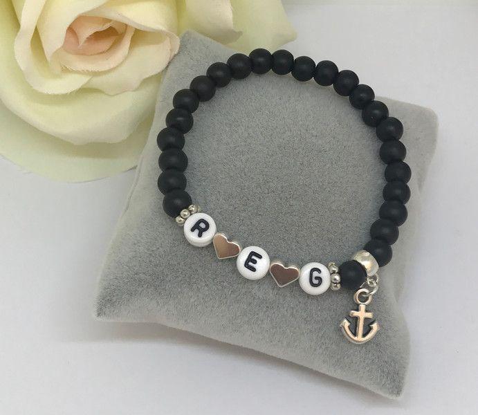 """Namensarmbänder - Armband """"Initialen"""" in schwarz mit Anker - ein Designerstück von MiPerla bei DaWanda"""
