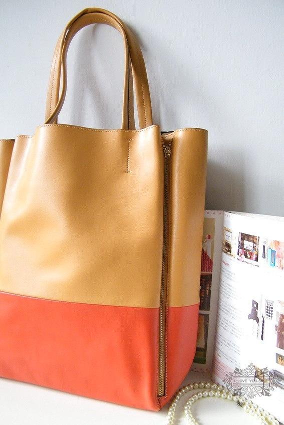 I'm taking this away on my European vacation - Large Leather Tote Bag - Shopper Bag - Handbag in Light Brown Orange. $139.00, via Etsy.