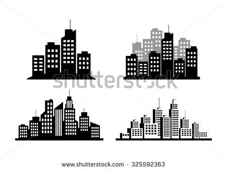 Black city icons on white background