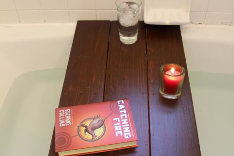 turn a pallet into a bath shelf, carpentry  woodworking, pallet projects, The bath shelf is the perfect place to put a glass of water or a book