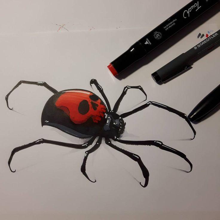 Black skull widow  #ozer #tattoo #tatouage #ironink #nantes #loveletters…