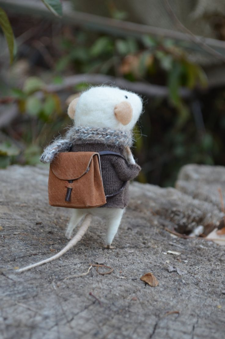 """Needle-felted  I think it would be cute to give one of these to your children when they go away on trips etc. If the backpack opens even better - add a tiny """"I love you"""" note! - Rachel"""
