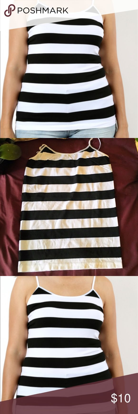 💕plus size seamless stripe cami black and white PLUS SIZE STRIPED SEAMLESS CAMI WITH SPAGHETTI STRAPS  BODY LENGTH : 22/23app 50% NYLON 40% POLYESTER 10% SPANDEX   Great stretch nice fit body shaper Tops Tank Tops