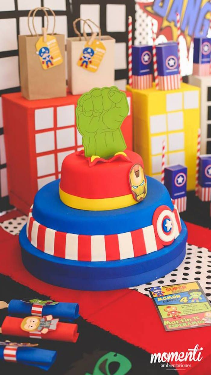 Avengers birthday cake from Modern Avengers Birthday Party at Kara's Party Ideas. See the whole party at karaspartyideas.com!