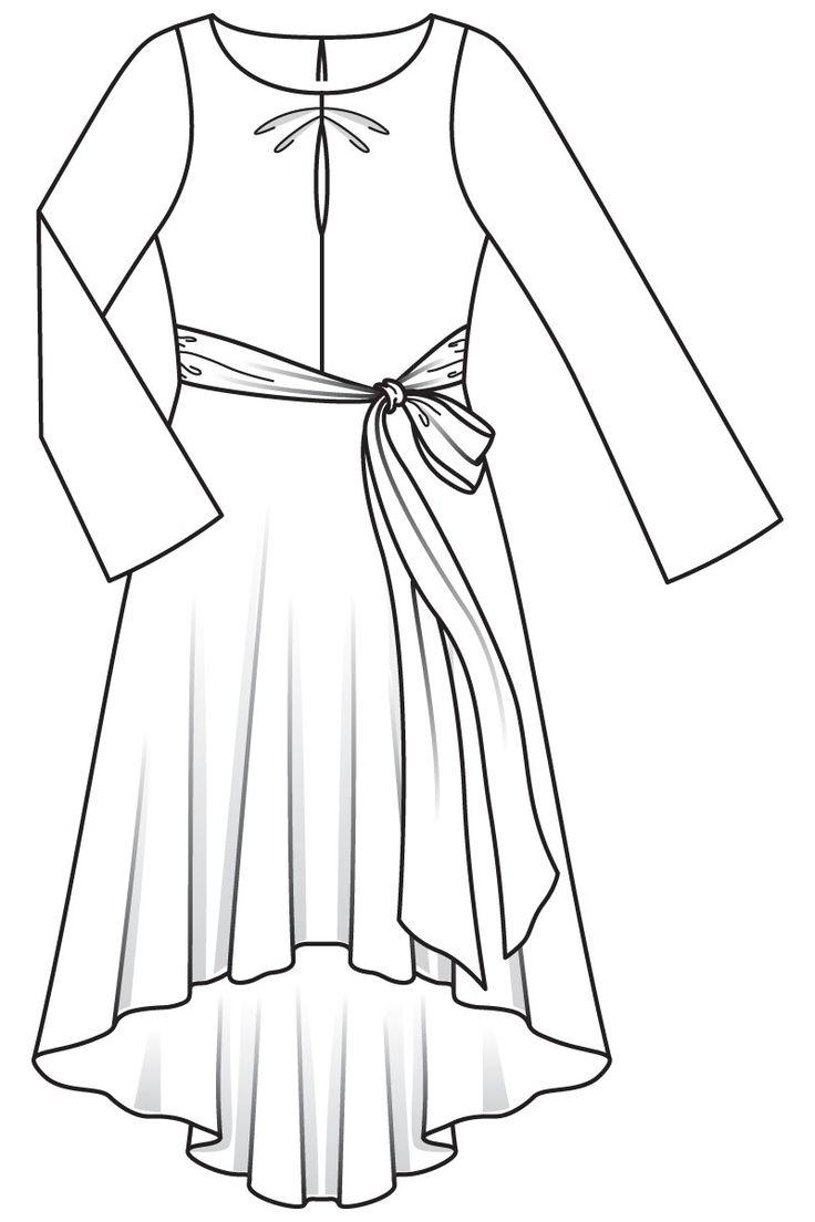 Sukienka z asymetryczną spódnicę - numer wzorca 121 Magazine 4/2016 Burda - wzory na sukienki Burdastyle.ru
