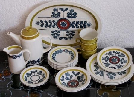 1960s Stavangerflint (Norway) 'Kon Tiki' 23 piece dinner set designed by Inger Waage | bidorbuy.co.za
