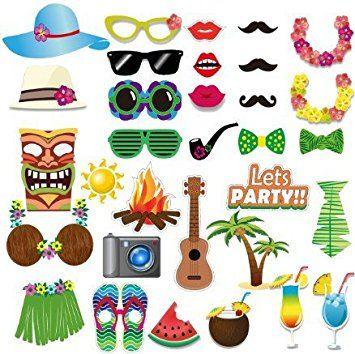 Veewon Luau Hawaiian Photobooth fotomatón Props 32piezas DIY Kit para festivales de verano tropical playa fiesta en la piscina