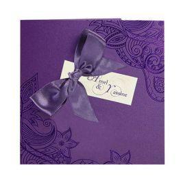 Faire-part Mariage Oriental Violet, ruban & arabesques Réf. : J3110