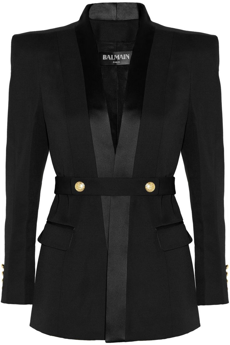 Balmain | Belted satin-trimmed wool tuxedo jacket