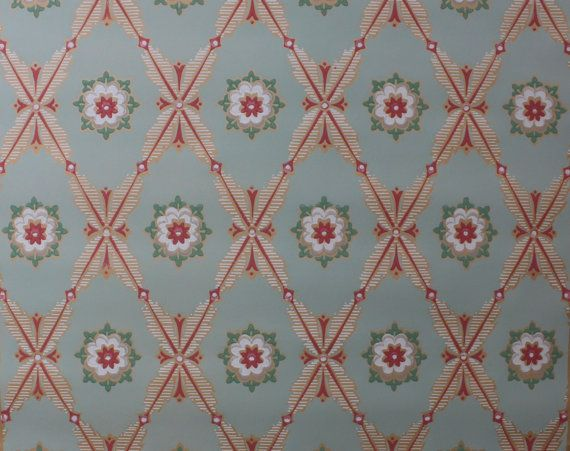 1930 S Vintage Wallpaper Pink And Green Geometric